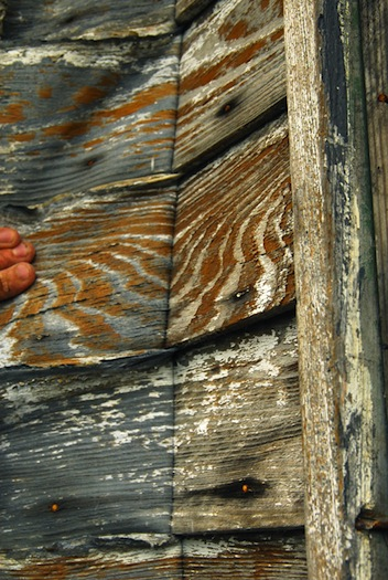Detail of latex being peeled from siding of shotgun house. Photo by Michael White.