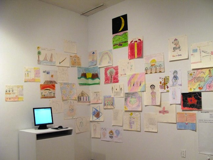 Kids' drawings and blog access installed at Queens Museum of Art