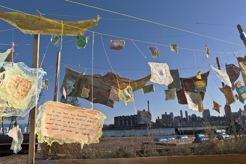 Social Dress Lower East Side – Material Memories (detail), 2014. Installation at Pier 42, Sept 2014