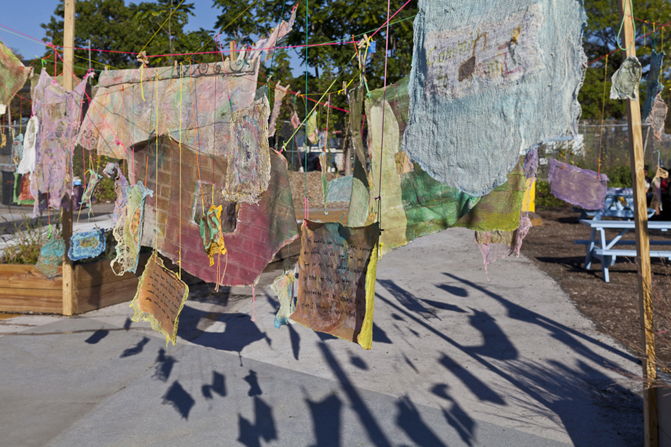 Social Dress Lower East Side – Material Memories, 2014. Installation at Pier 42, Sept 2014